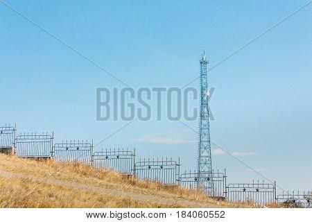 Electric Power Transmission Pylon On Inner Mongolia Grassland Against Blue Sky  ,china.
