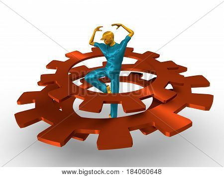 Young man wearing apron. Worker model dancing at the center of the gears group. 3D rendering. Metallic material.