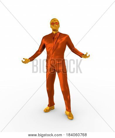 Businessman in wizard pose. 3D rendering. Bearded man wearing the sunglasses