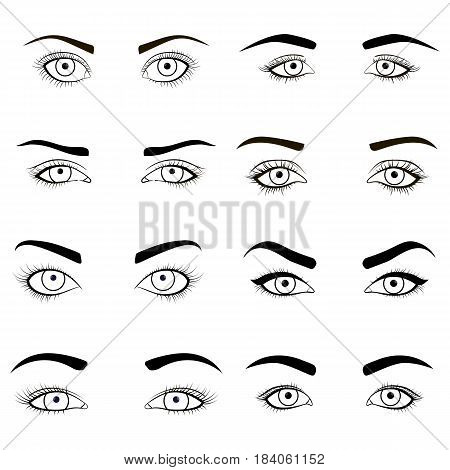 Set of female eyes and brows black image. Health glamour design with beautifully fashion eyelashes. Open woman eyes for makeup. Graphic illustration