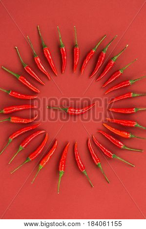 red hot chili peppers, popular spices concept - decorative circle is made from red hot chili pepper pods on red background, in the middle is one pod, top view, flat lay, vertical