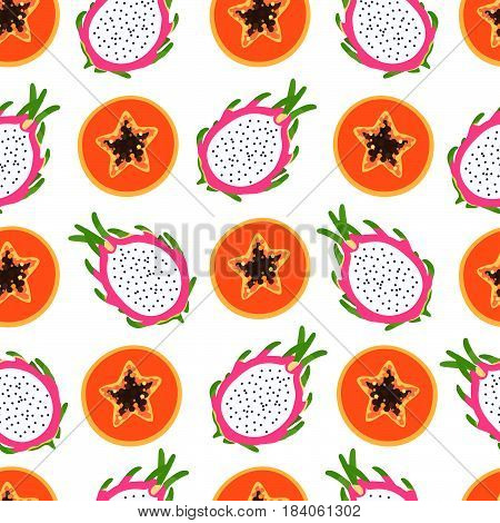 Bright tropical pattern with papaya and dragon fruit half of a sectional with seeds on a white background. Vector illustration.