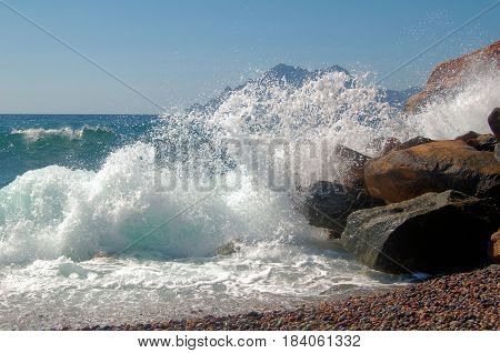 Waves against rocks on a stormy day