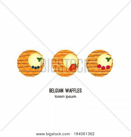 Cute waffles with ice cream and fresh berries with blueberries, strawberry, raspberry. On a white background isolated.