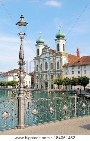 Jesuit church on the banks of the Reuss in Luzern