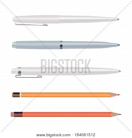 Pens and pencils isolated on white background, ballpoint pen, lead orange dot pencil with red rubber eraser, flat style stationery set. Cartoon design. Graphic illustration