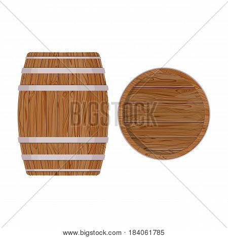 Wooden barrel with iron rings. Isolated on white background. wood beer barrel. Graphic illustration