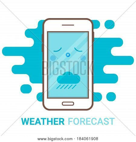 Weather forecast in smartphone. Cartoon unhappy phone with rain and colouds icon. Mobile app widget online meteorology services concept. Flat modern vector logo. Creative flyer poster template.