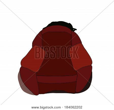 Cat stretched out on the back of chair and flashing eyes. Eps 8. Vector illustration.