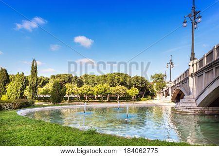 Turia gardens on sunny day in Valencia Spain