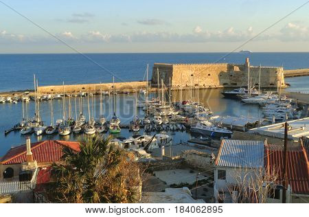 Castello a Mare, the Historic Venetian Fortress in the Morning Sunlight, Old Port of Heraklion, Crete Island, Greece