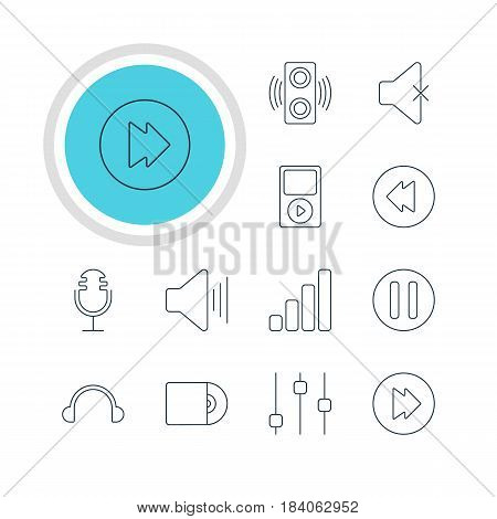Vector Illustration Of 12 Melody Icons. Editable Pack Of Volume Up, Advanced, Reversing And Other Elements.