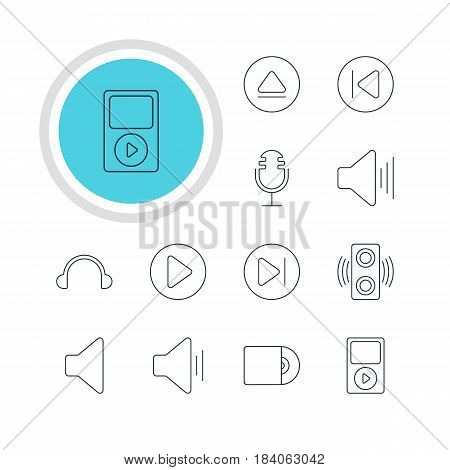 Vector Illustration Of 12 Music Icons. Editable Pack Of Mike, Audio, Speaker And Other Elements.
