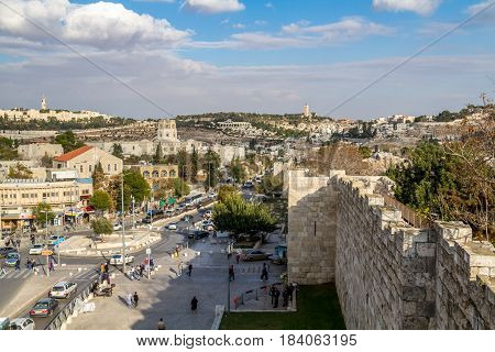 View from wall of the Old City of Jerusalem, Rockefeller Archaeological Museum, BYU Center and Augusta Victoria Hospital on Mount Scopus in Jerusalem, Israel
