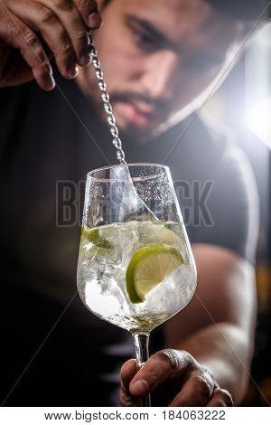 Bartender Is Stirring Cocktail