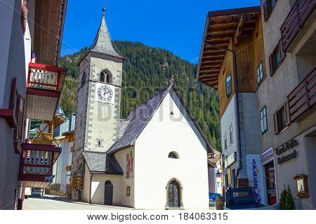 Canazei Italy - April 26 2012: The St Florian church in the old village
