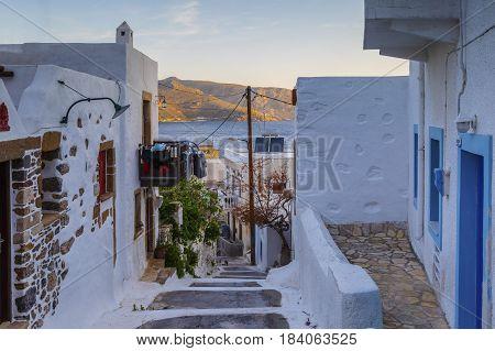 Street in Agia Marina village on Leros island in Greece early in the morning.