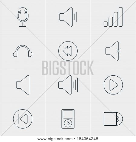 Vector Illustration Of 12 Music Icons. Editable Pack Of Reversing, Soundless, Compact Disk And Other Elements.