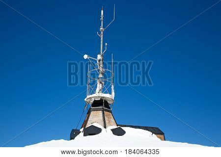 Weather station on the top of the mount Santis, Switzerland