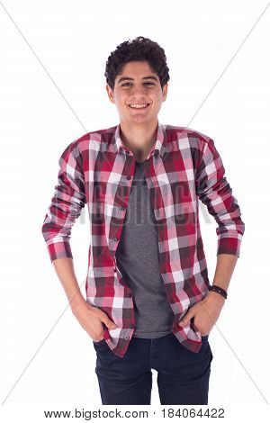 Portrait of smiley happy friendly young student with hand in pocket standing confidently teenager wearing open red shirt and gray t-shirt and jeans isolated on white background