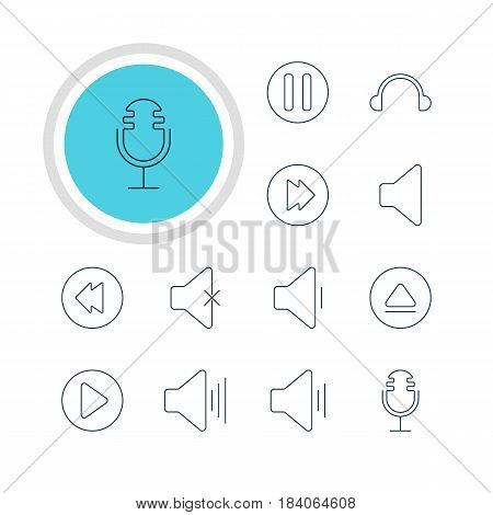 Vector Illustration Of 12 Music Icons. Editable Pack Of Mike, Earphone, Start And Other Elements.