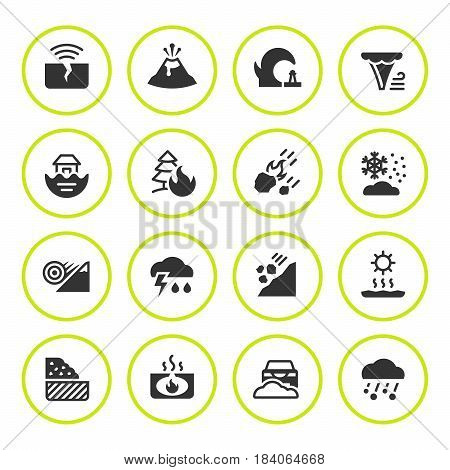 Set round icons of natural disaster isolated on white. Vector illustration