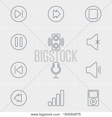 Vector Illustration Of 12 Music Icons. Editable Pack Of Acoustic, Mp3, Amplifier And Other Elements.