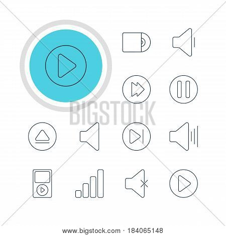 Vector Illustration Of 12 Music Icons. Editable Pack Of Advanced, Start, Lag And Other Elements.