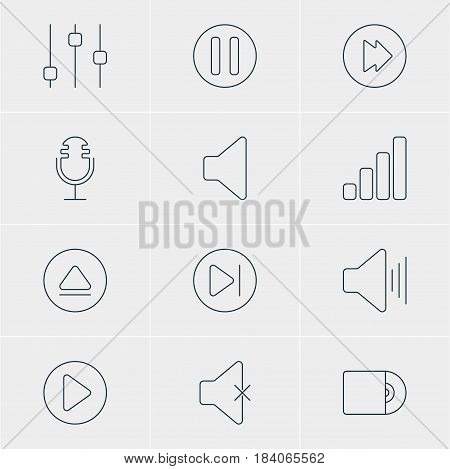 Vector Illustration Of 12 Music Icons. Editable Pack Of Stabilizer, Acoustic, Soundless And Other Elements.