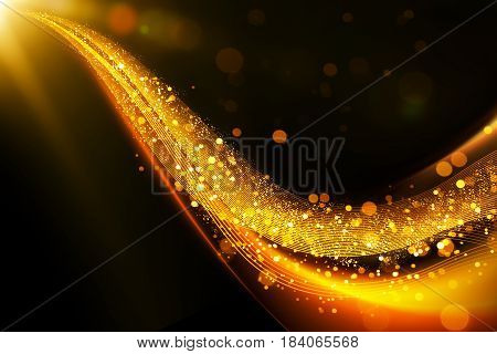 Abstract glittering gold flow on line follow one direction with bokeh and fade effect .