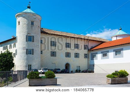 San Michele All'Adige Italy - June 28 2012: The Agostiniana abbey headquarter of the Fondazione Edmund Mach