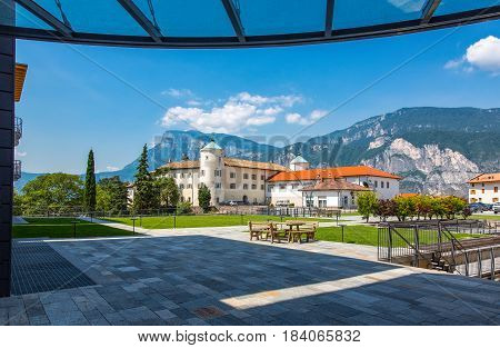Italy San Michele All'Adige the Agostiniana abbey headquarter of the Fondazione Edmund Mach seen from the students boarding sector