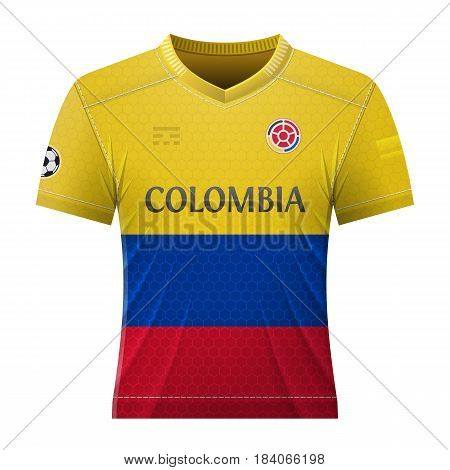 Soccer shirt in colors of colombian flag. National jersey for football team of Colombia. Best vector illustration for soccer sport game football championship national team gameplay etc