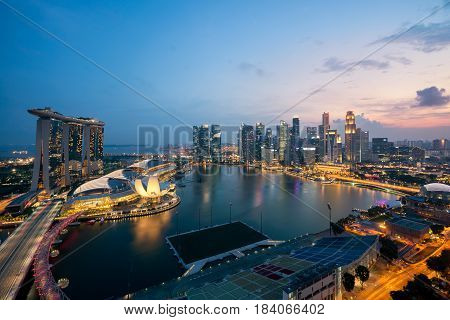 Panorama of Singapore business district skyline and Singapore skyscraper in night at Marina Bay Singapore.