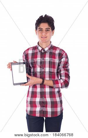 Portrait of smiley friendly teenage boy holding the tablet teenager wearing red shirt and jeans isolated on white background