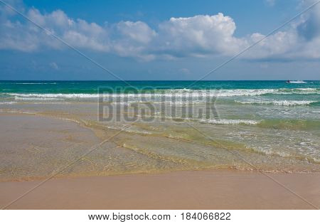 Coastline At Empty Sea And Beach Background