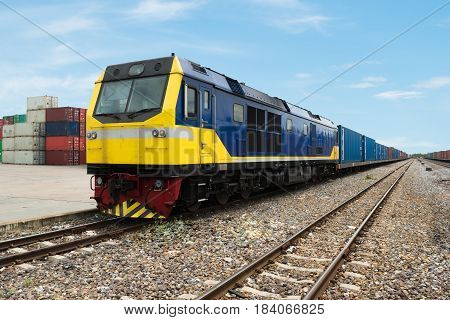 Cargo train platform with freight train container at depot use for Import Export Logistics background. Import Export Logistics concept.