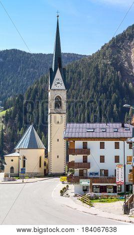Selva Di Cadore Italy - April 27 2012: The parish church of the village.