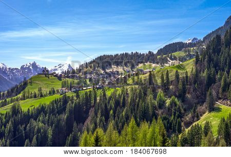 Italy Dolomites view on the valley from Selva Di Cadore