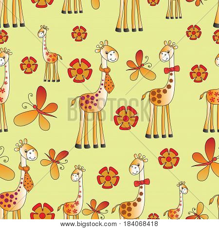 Funny giraffes, butterflies and flowers. Seamless pattern on yellow background. Fun zoo. A child's drawing. The cartoon characters. Design for pattern, textiles, children's book, the background image.