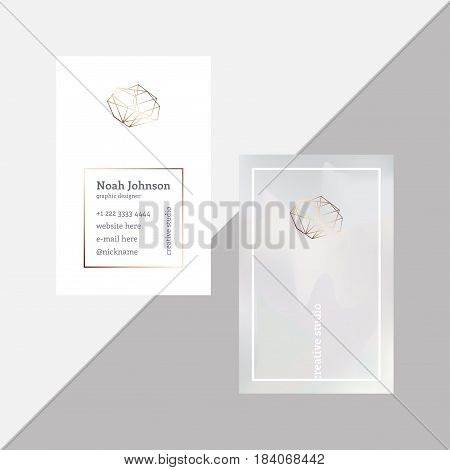 Gray double-sided business card with a bronze crystal logo. Polygonal shape. Corporate identity template. Blurry holographic background. Chatoyant backdrop.Vector. EPS 10. Nacreous pearl pastel colors