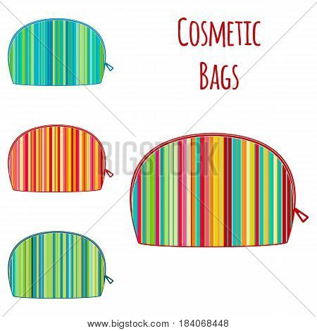 Set of vector cosmetic make up colorful bright travel bags. Vanity case