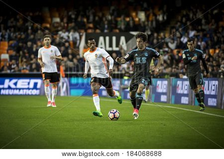 VALENCIA, SPAIN - APRIL 26: Odriozola with ball during La Liga match between Valencia CF and Real Sociedad at Mestalla Stadium on April 26, 2017 in Valencia, Spain