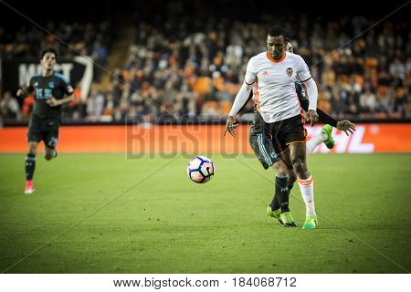 VALENCIA, SPAIN - APRIL 26: (R) Navi, Juanmi during La Liga match between Valencia CF and Real Sociedad at Mestalla Stadium on April 26, 2017 in Valencia, Spain