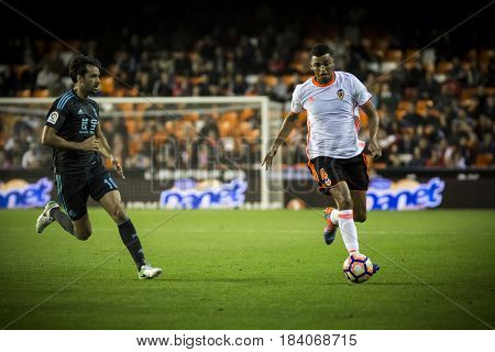 VALENCIA, SPAIN - APRIL 26: Santos with ball during La Liga match between Valencia CF and Real Sociedad at Mestalla Stadium on April 26, 2017 in Valencia, Spain