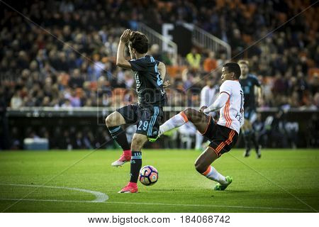 VALENCIA, SPAIN - APRIL 26: (R) Nani during La Liga match between Valencia CF and Real Sociedad at Mestalla Stadium on April 26, 2017 in Valencia, Spain