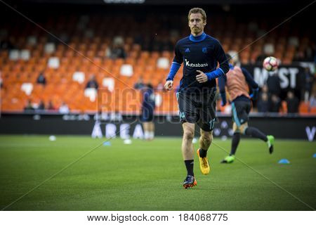VALENCIA, SPAIN - APRIL 26: Zurutuza during La Liga match between Valencia CF and Real Sociedad at Mestalla Stadium on April 26, 2017 in Valencia, Spain