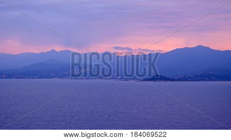 View on the Corsica Island France and the Bonifacio Strait in the Mediterranean sea on sunrise.