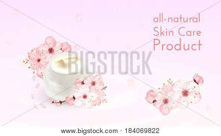 Moisturizing cosmetic ads template. Cream products mockups advertising isolated upon water, nature background against light pink bokeh. 3d illustration. moisture face skin care containers