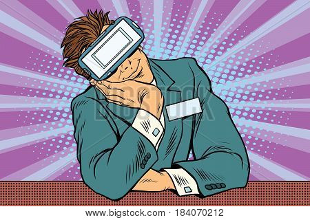 Manager at VR glasses for reception. Pop art retro vector illustration